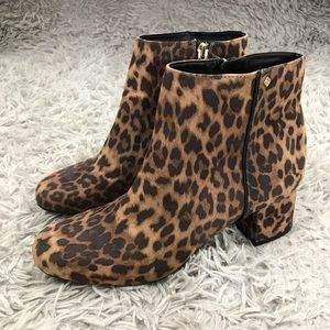 Sam & Libby leopard Zip Side Ankle Boots Sz 10